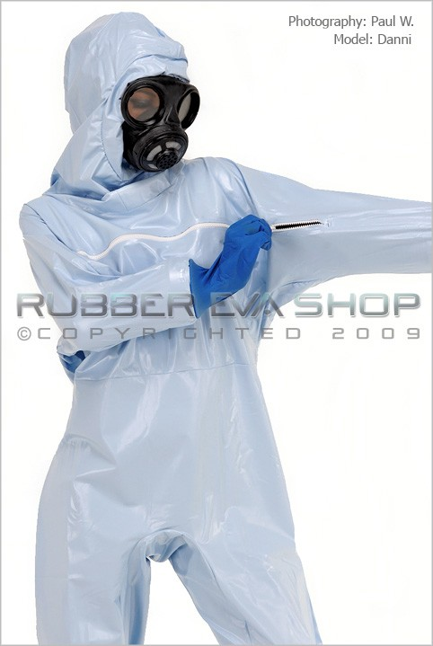 Danni - `Ladies Plastic Hazmat Suit` - by Paul W for RUBBEREVA
