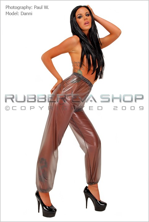 Danni - `Large Plastic Jogging Bottoms` - by Paul W for RUBBEREVA