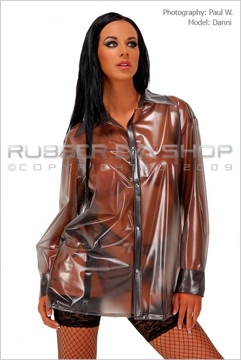 Danni - `Small Long Sleeved Plastic Shirt` - by Paul W for RUBBEREVA