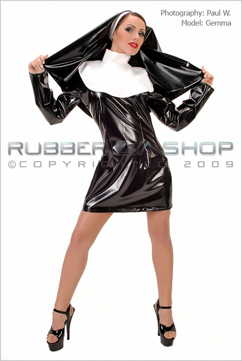 Gemma - `Short Sexy Nun Outfit` - by Paul W for RUBBEREVA