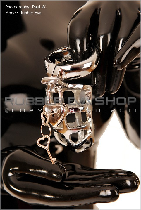 Rubber Eva - `Small Lockable Cock and Ball Steel Chastity Cage` - by Paul W for RUBBEREVA