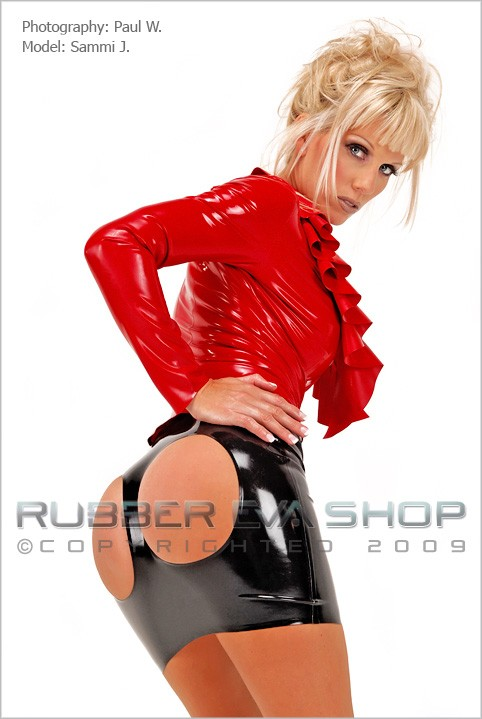Sammi J - `Cheeky Bum Spanking Skirt` - by Paul W for RUBBEREVA