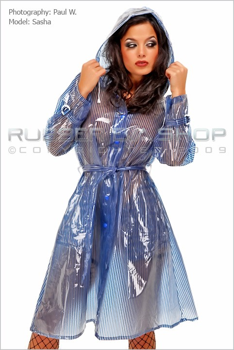 Sasha - `Hooded Pinstripe Plastic Coat` - by Paul W for RUBBEREVA