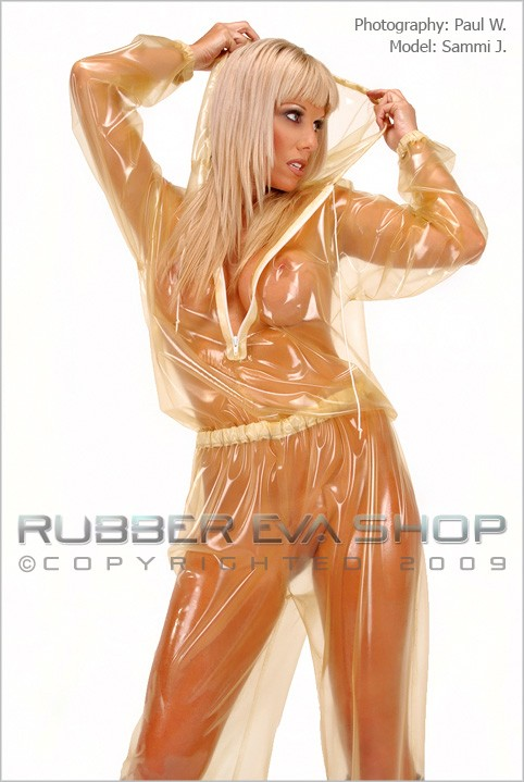 Sammi J - `Hooded Rubber Jogging Suit` - by Paul W for RUBBEREVA