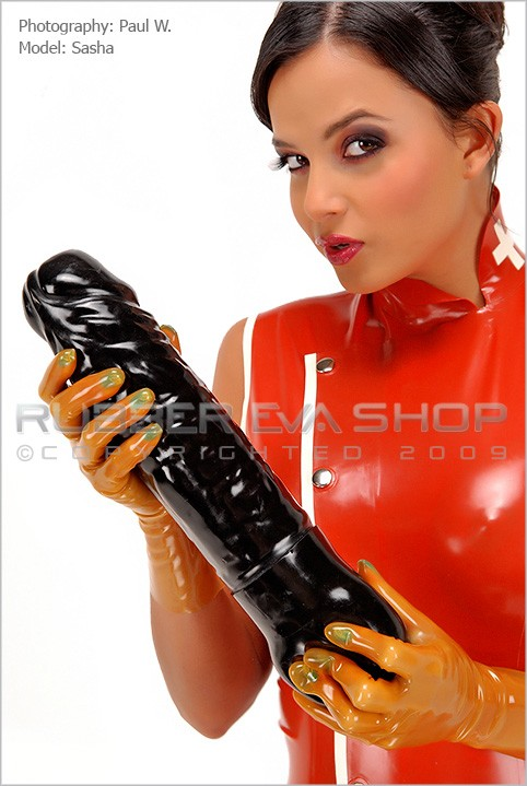 Sasha - `Huge Ejaculating Rubber Cock` - by Paul W for RUBBEREVA