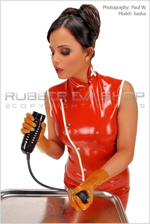 Sasha - `Inflatable Rubber Cock Sheath` - by Paul W for RUBBEREVA
