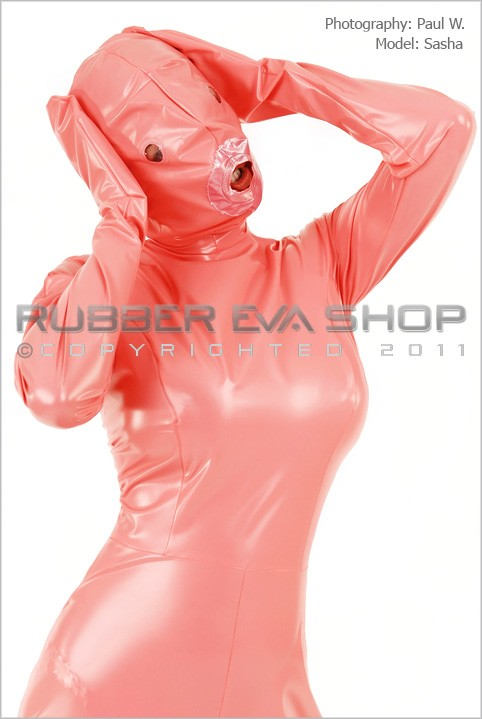 Sasha - `Ladies Total Enclosure Plastic Dolly Catsuit` - by Paul W for RUBBEREVA
