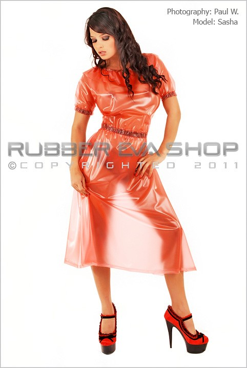 Sasha - `Long Frill Neck Plastic Dress` - by Paul W for RUBBEREVA