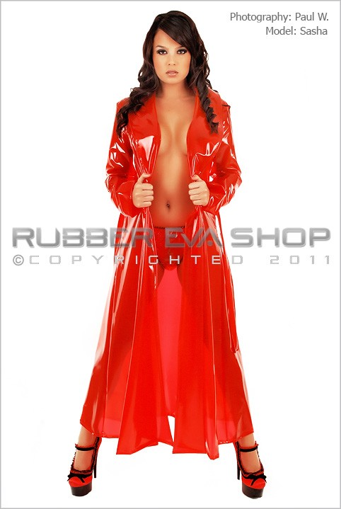 Sasha - `Long Plastic Dressing Gown` - by Paul W for RUBBEREVA