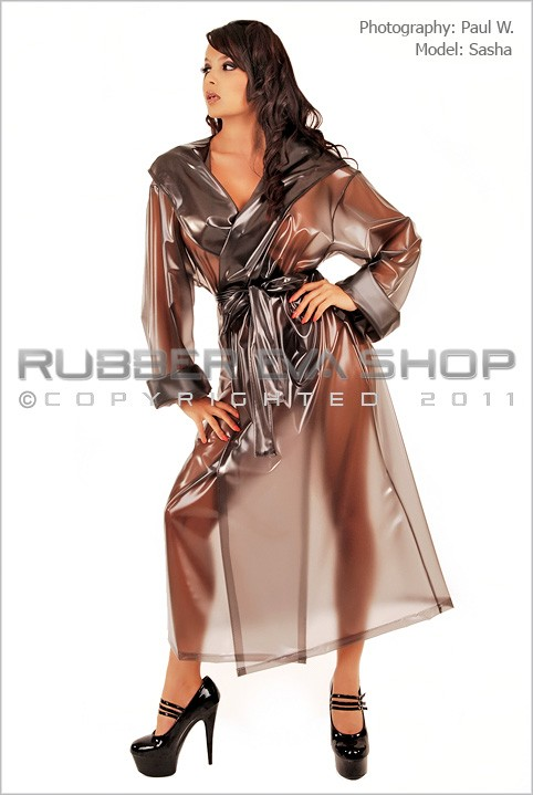Sasha - `Mens Hooded Plastic Dressing Gown` - by Paul W for RUBBEREVA