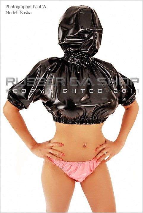 Sasha - `Plastic Hooded Crop Top` - by Paul W for RUBBEREVA