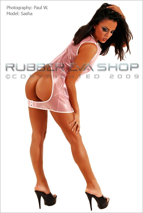 Sasha - `PVC Spanking Dress` - by Paul W for RUBBEREVA