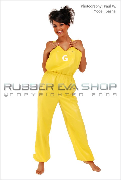 Sasha - `Rubber Dungarees` - by Paul W for RUBBEREVA
