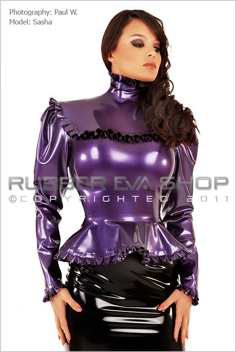 Sasha - `Rubber Governess Blouse` - by Paul W for RUBBEREVA
