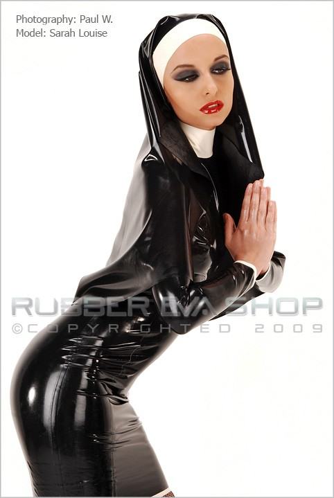 Sarah Louise - `Sexy Rubber Nun Outfit` - by Paul W for RUBBEREVA