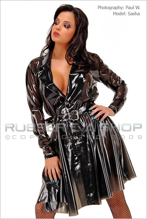 Sasha - `Short Rubber Trench Coat` - by Paul W for RUBBEREVA