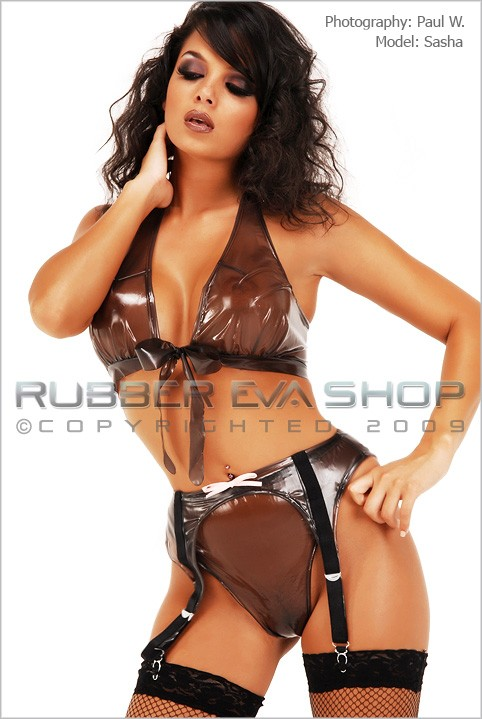 Sasha - `Tie Front Bra, Thong and Suspender Set` - by Paul W for RUBBEREVA