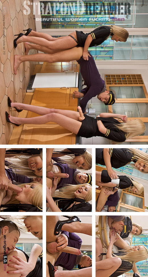 `Girls in Uniform! Two Hot Stewardesses Fuck a Guy with Strapon` - for STRAPONDREAMER