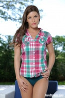 Jenny Appach In Sexy Plaid Shirt And Panties Getting Naked