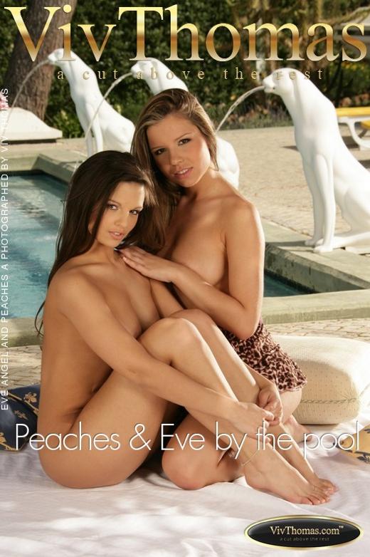 Eve Angel & Peaches A - `Peaches & Eve by the pool` - by Viv Thomas for VIVTHOMAS