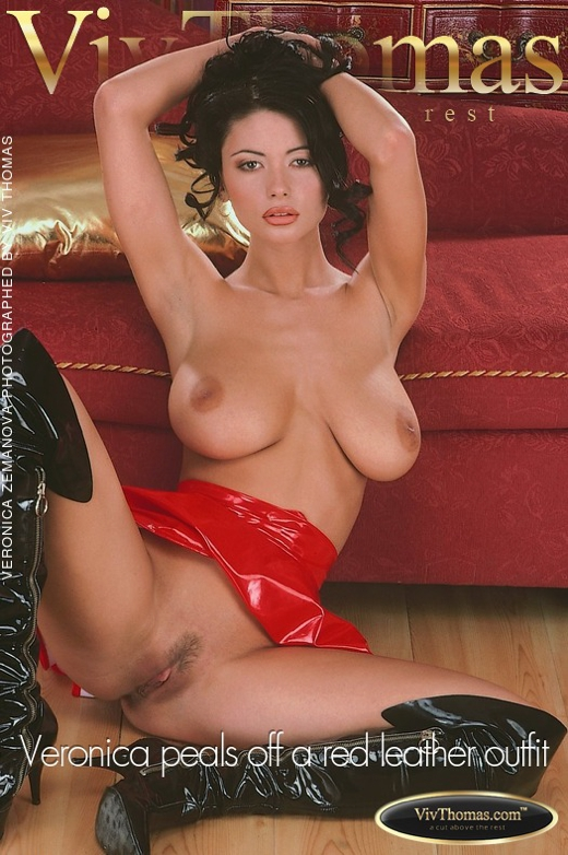 Veronica Zemanova - `Veronica peals off a red leather outfit` - by Viv Thomas for VIVTHOMAS