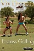 Jo & Sandra Shine - Topless Golfing