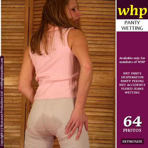 Traci - `Traci Pees Her Tight White Pants` - by Skymouse for WETTINGHERPANTIES