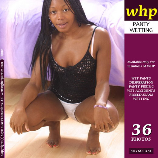Ebony - `Ebony Crouches Down To Piss Her White Cotton Knickers` - by Skymouse for WETTINGHERPANTIES