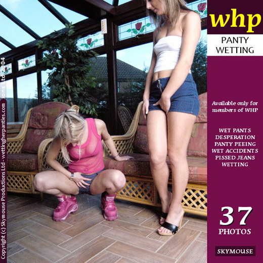 Sarah & Sabrina - `Sarah And Sabrina Dare Each Other To Pee Their Pants` - by Skymouse for WETTINGHERPANTIES