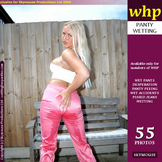 Dionne - `Blonde Beauty Dionne Pees Her Pink Pants And White Cotton Panties` - by Skymouse for WETTINGHERPANTIES