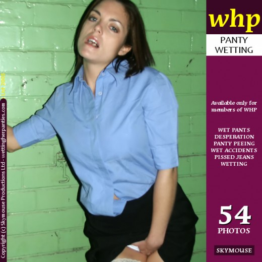 Tasmin - `Tasmin Has A Pee Accident In Her White Knickers And Black Miniskirt` - by Skymouse for WETTINGHERPANTIES