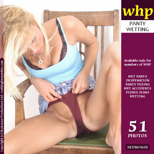 Linsey - `Sexy Blonde Linsey Pees Her Panties While Sitting On A Chair` - by Skymouse for WETTINGHERPANTIES