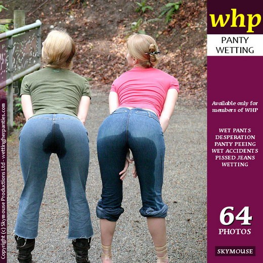 Kiara & Yuliya - `Kiara And Yuliya Wet Their Jeans In Public But Get Away With It` - by Skymouse for WETTINGHERPANTIES