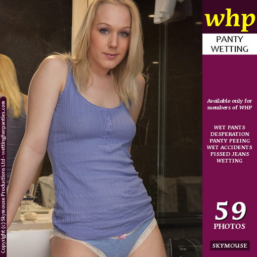Aston Wilde - `New Girl Aston Pees Her Pretty Blue Panties` - by Skymouse for WETTINGHERPANTIES