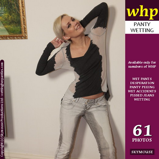 Faye - `Faye Wets Her Tight Grey Jeans And Dark Grey Panties` - by Skymouse for WETTINGHERPANTIES