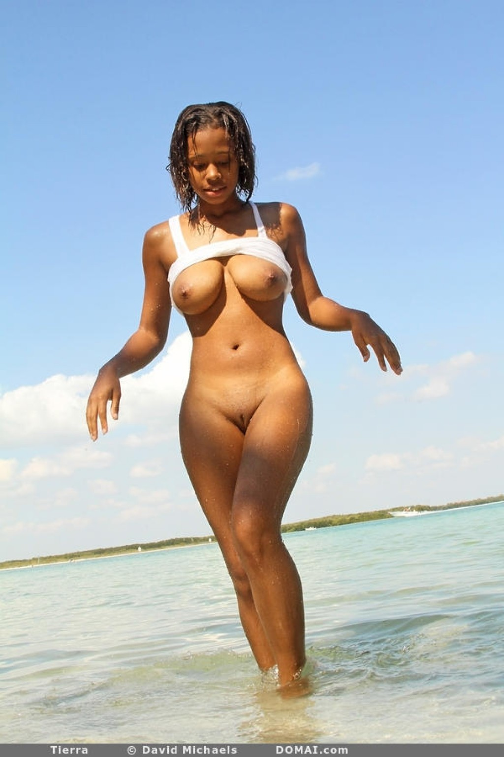 nude black female at the beach