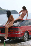 Evia & Irina F & Kata A & Milli in Car Wash gallery from FEMJOY by Max Stan - #14