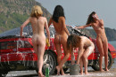 Evia & Irina F & Kata A & Milli in Car Wash gallery from FEMJOY by Max Stan - #3