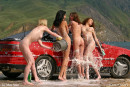 Evia & Irina F & Kata A & Milli in Car Wash gallery from FEMJOY by Max Stan - #8