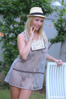 Isabella B In A Short Dress And Hat Getting Naked Under A Palmtree gallery from TEENDREAMS - #2
