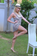 Isabella B In A Short Dress And Hat Getting Naked Under A Palmtree gallery from TEENDREAMS - #4